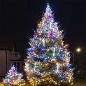 Иллюминация живой елки RGB гирляндами