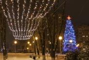 """Иллюминация городской елки, """"Звездное небо"""" над парковой аллеей, 2016"""