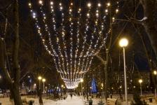 """Иллюминация городской елки, """"Звездное небо"""" над парковой аллеей"""