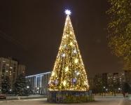 Иллюминация городской елки на Оболони, Киев