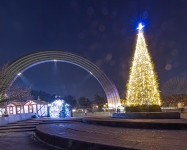 Иллюминация елки в центре Киева, парк Арка Дружбы Народов
