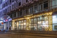 Новогодняя иллюминация ресторана Lviv Croissants, Спортивная площадь Киев