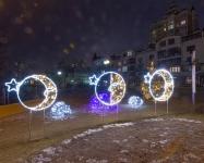 Новогодняя иллюминация городского парка, Киев