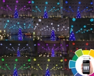 Иллюминация пиксельными шарами площади УКРЕНЕРГО, Киев