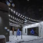 Гирлянда белт-лайт с лампами на терассе дома Белгравия