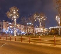 Новогодняя иллюминация парка, «Містечко зимових розваг» Палац Украина