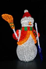 Световая акриловая фигура 3D «Снеговик с лопатой и метлой» 170см
