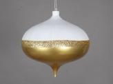 Тромпо округлая пластиковая 20 см, белый с глиттером + золотой перламутр