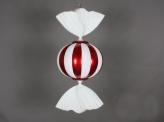 Конфета круглая пластиковая 47 см, красный + белый глиттер