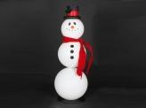 Снеговик объемный пластиковый 90 см с шарфом и шляпой