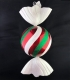 Конфета круглая пластиковая 33 см, красный + зеленый + белый глиттер