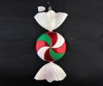 Конфета плоская пластиковая 47 см, красный + зеленый + белый глиттер