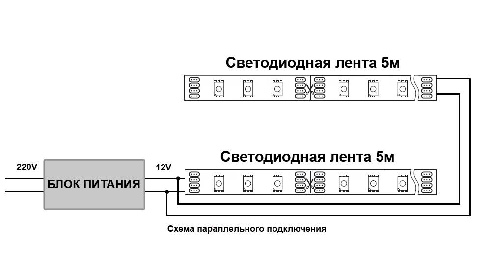 Параллельное подключение светодиодной ленты